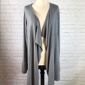 WHBM Long Sweater Waterfall Bell Sleeve Gray